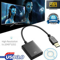 USB 3.0 To Vga Audio Video Adaptor Converter Cable For Windows 7/8/10 PC 1080PRF