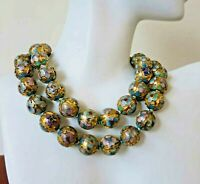 Vintage Chinese Deep Enamel Cloisonne Beads Necklace 22""