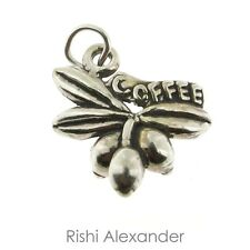 925 Sterling Silver Coffe Bean Plant Charm Made in USA