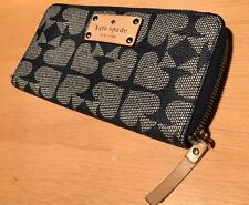 KATE SPADE NEDA BLACK PEBBLED VINYL ACE OF SPADES ZIP Around WALLET CLUTCH