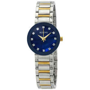 Bulova Modern Diamond Blue MOP Dial Ladies Watch 98P157