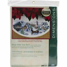 DIMENSIONS CROSS STITCH CHRISTMAS TREE SKIRT KIT SLEIGH RIDE SCENIC SNOW TOWN