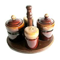 Vintage brown drip glaze salt pepper shakers condiment set w wood tray FREE SH