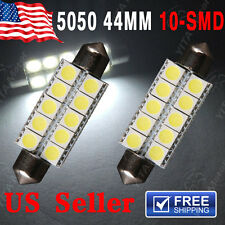 2X White Festoon 44mm 5050 10SMD Dome Map Door Cargo Light 6411 578 211-2 212-2