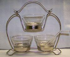 Libbey Vintage Condiment Set 5 Pieces Chrome Holder Spoon Mid-Century Mod 50's