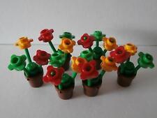 LEGO FRIENDS   6  braune  Blumentöpfe  mit  Blumen    NEU