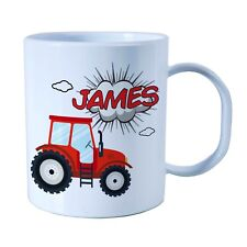 Personalised Plastic Unbreakable Kids Cup, Toddler Cup Tractor Theme for Boys