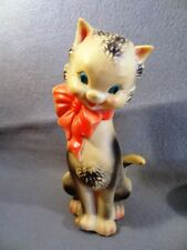 Vintage 1960s MID-CENTURY Squeaker CAT w BOW The Sun Rubber Co