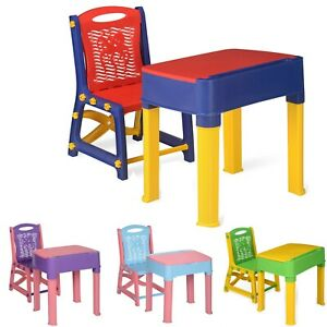 Kids Study Table and Chair Set for Junior Nursery Playroom Furniture Gift Set