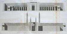 THEBES . KARNAK. Coupe transversale du peristyle du palai...  DESCRIPTION EGYPTE