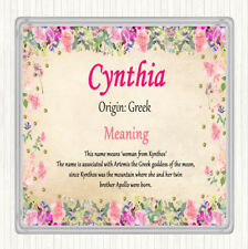 Cynthia Name Meaning Drinks Mat Coaster Floral