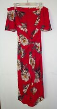 Tulips Midi Dress Size 8 Red Off Shoulder Floral Print Wrap Bow Tie Front