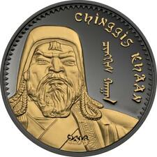 Mongolia 2014 1000 Togrog Chinggis Khaan Ruthenium 1 Oz Proof Gilded Silver Coin