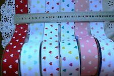 Grosgrain HEART Ribbon 38mm 2 Metre lengths 6 Mixed Colour Choice SH5B