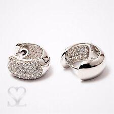 Damen Ohrringe Creolen 925 Sterling Silber 14x7mm Klappcreolen Zirkonia Weiß