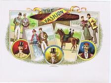 The Fashion   original Victorian cigar label cc 1890s tennis equestrian skating