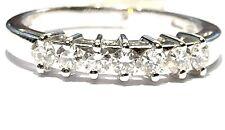 anello veretta in oro bianco 18 kt  con 7 Diamanti ct 0,40 F VVS1 n 12,5