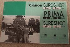 90s Canon Sure Shot Sureshot ex prima Cámara completo manual instrucciones de funcionamiento