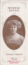 """February 14, 1910 Concert by Myrtle Elvyn at Tacoma Theatre. WA (4"""" x 9 1/4"""")"""