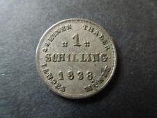 J1042 GERMAN STATES  MECKLENBURG-SCHWERIN 1838 A  1  SHILLING HIGH  GRADE SCARS