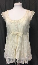 Lace And Net Victorian Style Camisol Top. Womens. Medium. Ecru.