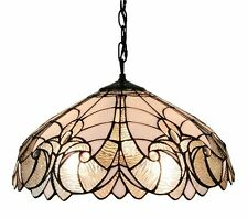 "Tiffany Style Ceiling Lamp Hanging Light Fixture White Stained Glass 18"" Wide"