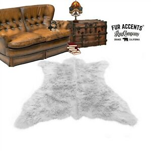 White Bear Skin Rug - Plush Shag Faux Fur - Bonded Suede Lining - Made in USA