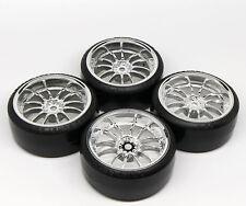 4 PCS HPI Wheel Rim +HPI Hard Plastic Drift Tires FOR 1/10 RC On Road Car SILVER