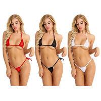 Transparenter Damen Bikini Set Babydoll BH und Micro G String Badeanzug Lingerie