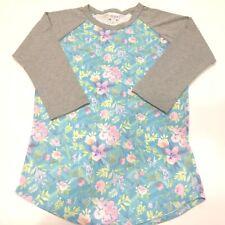 LuLaRoe Randy Baseball T Shirt Top Floral Flowers Gray Blue Green Pink Purple