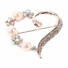 Women's Love Pearl Brooch Pin Rose Gold K7S5