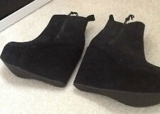 BNIB KG BY KURT GEIGER BLACK SUEDE PLATFORM WEDGE ANKLE BOOTS SIZE 5 RRP £195