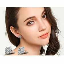 Men Women Sterling silver Rhombus White Topaz Gemstone Crystal Stud Earrings K16