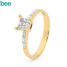 Diamond 9ct Solid Yellow Gold Solitaire Ring Size P 7.75 25161