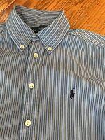H21 RALPH LAUREN Mens custom fit Shirt blue Button Front white stripe XL