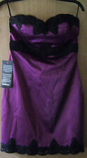 Women's bebe Purple Strapless Black Lace Sateen Fitted Casual Formal Dress 8