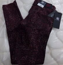 Misses Size 0 M Rock & Republic Tipsy Cheetah Maroon Banshee Jeans NEW Womens