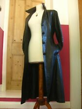 vintage Ladies real leather black LONDON TRENCH COAT UK14 12 steampunk goth belt