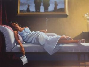 JACK VETTRIANO HD CANVAS THE LETTER 30X20 INCH LARGE FRAMED RARE ART WORK LARGE
