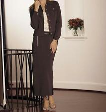 Women's Business office Work dress denim stretch knit 2PC skirt set suit plus 2X