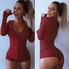 Women V Neck Bodysuit Button Jumpsuit Bodycon Long Sleeve Leotard Tops Playsuit