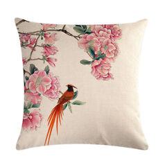 Home Textiles Garden Birds Flowers Series Square Linen Pillow Case Cushion Cover