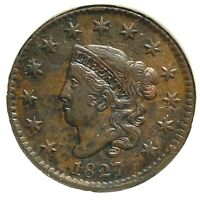 1827 1C Coronet Head Cent in Holder (59285)