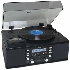 TEAC LP-R550USB CD Burner Cassette AM/FM Radio USB Record Player Black