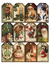 12 Christmas Vintage Art Hang Tags Scrapbooking Paper Crafts (17)