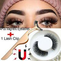 4pcs 3D Magnetic False Eyelashes Natural Eye Lashes Extension with Tweezer US