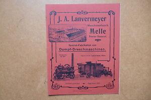 Original Catálogo Dampf-Dreschmaschinen J. A. Lanvermeyer Maschinenfabrik Melle