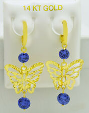 TANZANITE 2.24 Cts BUTTERFLY CHANDELIER EARRINGS 14K YELLOW GOLD * * Made in USA