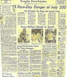 Newspaper 1972 Race Day Indy Petty Unser Hinson Faces Reflect Moods In Sports