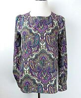 J Crew Women's Small Blouse Multi Color Paisley Pullover Long Sleeve Career